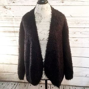 Kensie Fuzzy Black Open Cardigan
